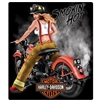 13 x 15-inch Embossed Harley-Davidson Smokin Hot Firefighter Tin Sign