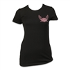 black shortsleeved cotton crew neck women's Harley-Davidson t-shirt with pink embellished font script logo