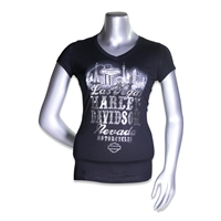 ladies black v-neck Harley-Davidson shortsleeved t-shirt with Las Vegas skyline & shiny silver metallic lettering