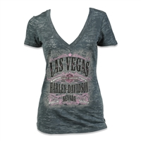 Women's Grey & Pink Las Vegas Harley Sheer Burnout Vneck Shirt
