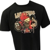 big and tall wide black men's Las Vegas Harley tshirt with red Club, vintage bike and pinup babe