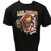 men's black shortsleeved Harley-Davidson Las Vegas tshirt with red Diamond decal behind vintage bike and kneeling pin-up
