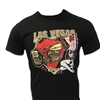 men's black shortsleeved Harley-Davidson Las Vegas tshirt with red Hearts decal behind vintage bike and busty pin-up
