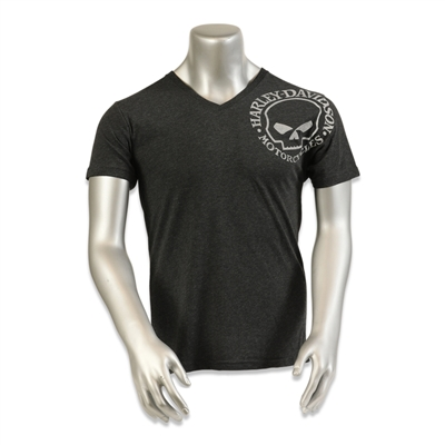 men's distressed charcoal willie g. skull Las Vegas Harley-Davidson shortsleeved tshirt with modern tribal flames on back