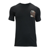 men's black casual fit Las Vegas Harley tshirt with orange and white grim reaper design and 90s heavy metal font style