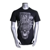 men's black Las Vegas playful creepy font shortsleeved Harley tshirt with skull wearing oversized Willy Wonka-esque tophat