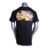 men's black Las Vegas Harley-Davidson shortsleeved tshirt with bright orange sunset behind Welcome sign & bike silhouette