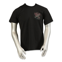 men's black Las Vegas Harley shortsleeved tshirt with speeding realistic American eagle and red & blue American flag overlay