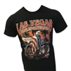 men's black Las Vegas Harley shortsleeved tshirt with American eagle sitting on bike with America flag draped over shoulders