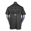 miliary green military-style men's Las Vegas Harley shortsleeved tshirt with military eagle and bar with shield
