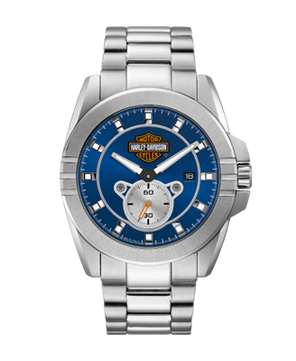 Harley-Davidson Mens Blue Dial Bar & Shield Stainless Steel Watch