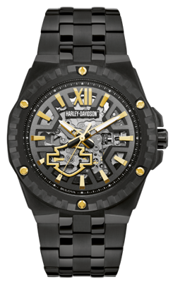 H-D Men's Skeleton Automatic Movement Watch - Black