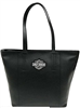 H-D LEATHER TRAVEL TOTE - BLACK