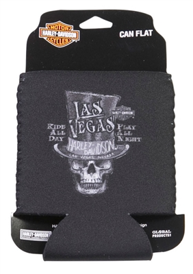 Las Vegas H-D Custom Top Hat Skull Flat Can Coozie