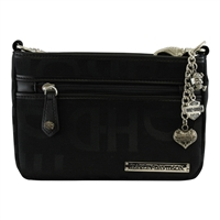 Harley-Davidson Womens HD Jacquard Top Zip Black Cotton Blend Hip Bag