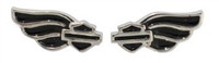Wing Bar & Shield Black Earring