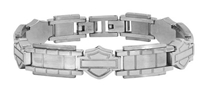 Harley-Davidson Men's Outline Bar & Shield Chain Link Bracelet