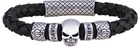 Harley-Davidson Men's Braided Leather Skull Bracelet