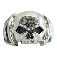 MEN'S H-D STEEL SKULL RING