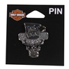 Las Vegas H-D Custom Top Hat Skull Pin
