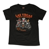 kids' black shortsleeved cotton Harley-Davidson tshirt with orange bar and shield on back & cartoon dogs and cats riding bikes on front
