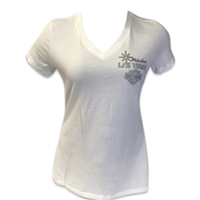 Ladies - White Montage Silver T-shirt