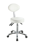 White Stool with Flat Backrest  - 1025C