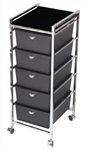 Pibbs D28BL 5 Tier Cart with ART69 Topper BL(black)