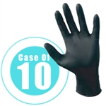 BLACK NITRILE GLOVES x 10