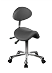 White Saddle Stool with Backrest  - USA-1025