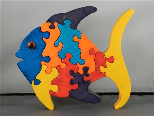 Colorful Wooden Fish Puzzle