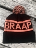 BLACK AND CORAL BRAAP POM BEANIE