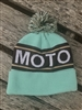 MINT AND KHAKI MOTO POM BEANIE