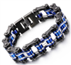 Blue Black and Silver Chain Bracelet