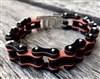Coral and Black Stainless Steel Chain Bracelet