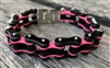 Black and Pink Stainless Steel Chain Bracelet