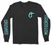 BLACK AND TEAL CRUSHED MOTOCROSS LONG SLEEVE TEE SHIRT