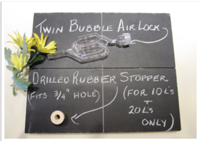 "Twin Bubble Air-Lock with 3/4"" Stopper"