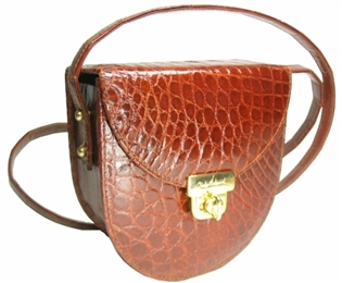 Alligator Crescent Handbag - Cognac