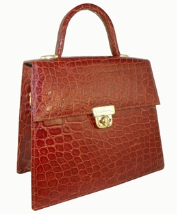 Alligator Madison Avenue Handbag - Cognac