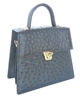 Ostrich Madison Avenue Handbag - Black