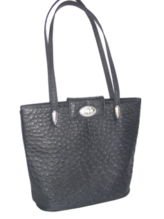Ostrich Arizona Shoulder Tote - Black