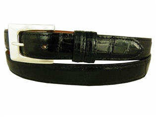 "Alligator Belt with 1 "" Sterling Silver Catalina Buckle"