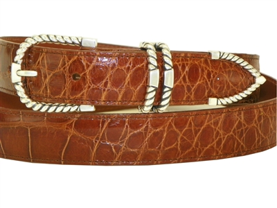 "Alligator Belt with 1 3/16"" Sterling Silver Tucson Buckle Set"