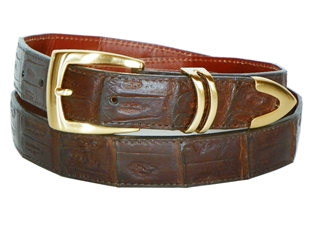 "Crocodile Belt 1 3/16"" with Scottsdale Gold Plated Buckle Set"