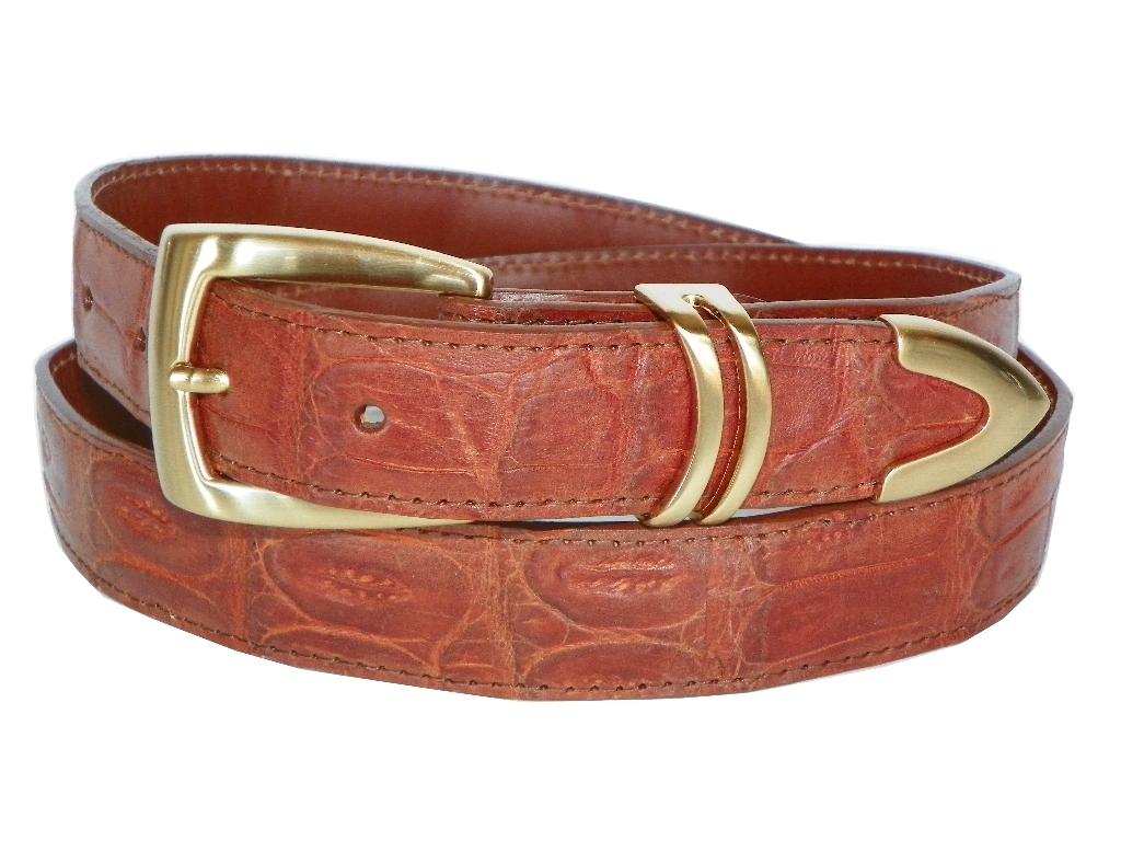 "Genuine Leather Casual Alligator Embossed Belt 1-3//8/"" Wide Red Blue Orange Green"