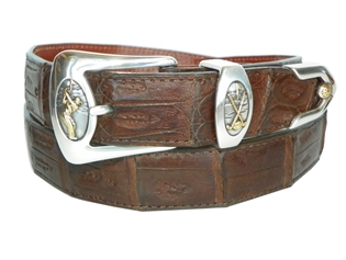 "Crocodile Belt 1 3/16"" with Golf ""Perfect Swing"" Buckle Set"