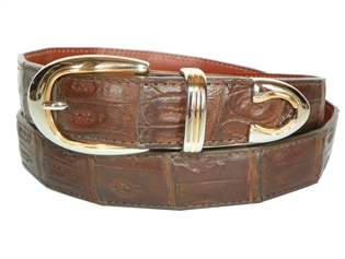 "Crocodile Belt 1 3/16"" with Palm Springs Buckle Set"