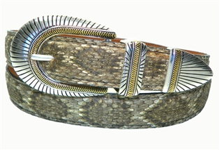 "Rattlesnake Belt 1 3/16"" with Southwest Buckle Set"