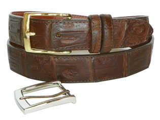 "Crocodile Belt 1 1/2"" with 2 Classic Buckles"